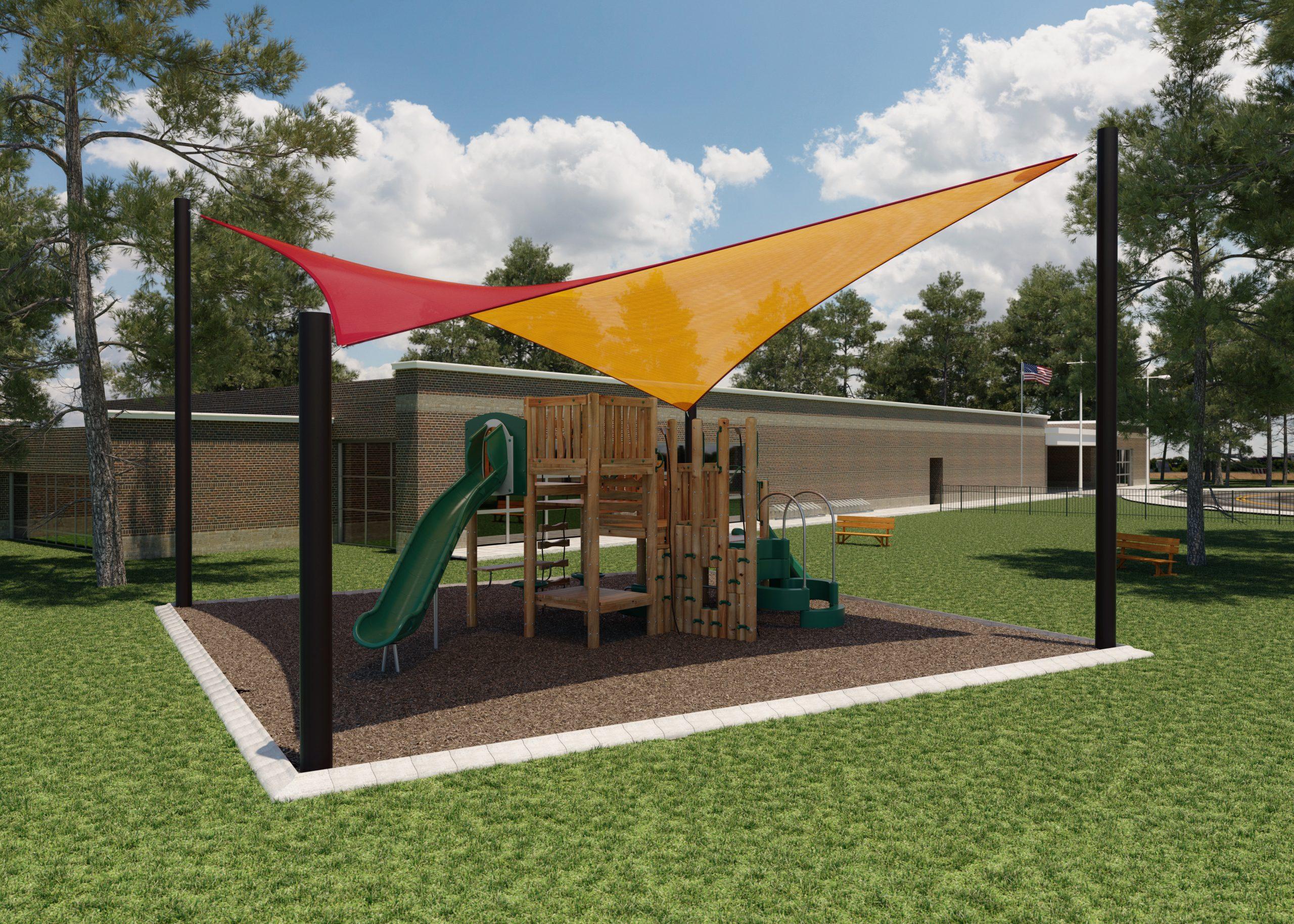 A playground featuring Dual Shade 350 sunburst fabric.