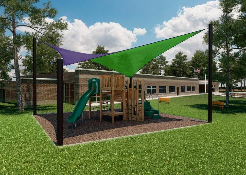 Eggplant fabric in a playground